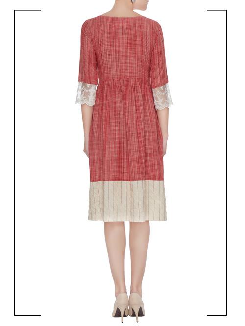 Red Chequered Midi Dress