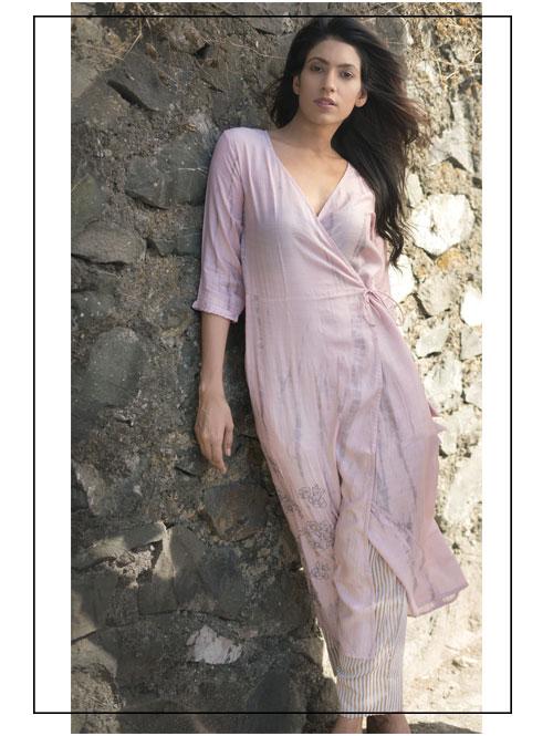 Dusky Shaded Wraparound Pink Tunic With Culottes