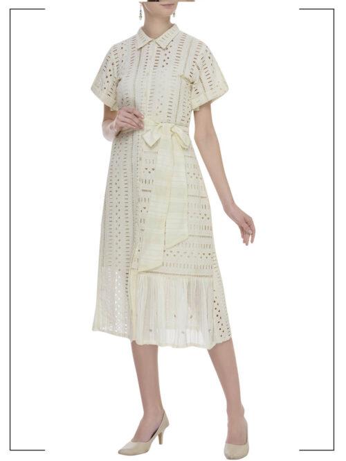 Cutwork Belted Shirt Dress