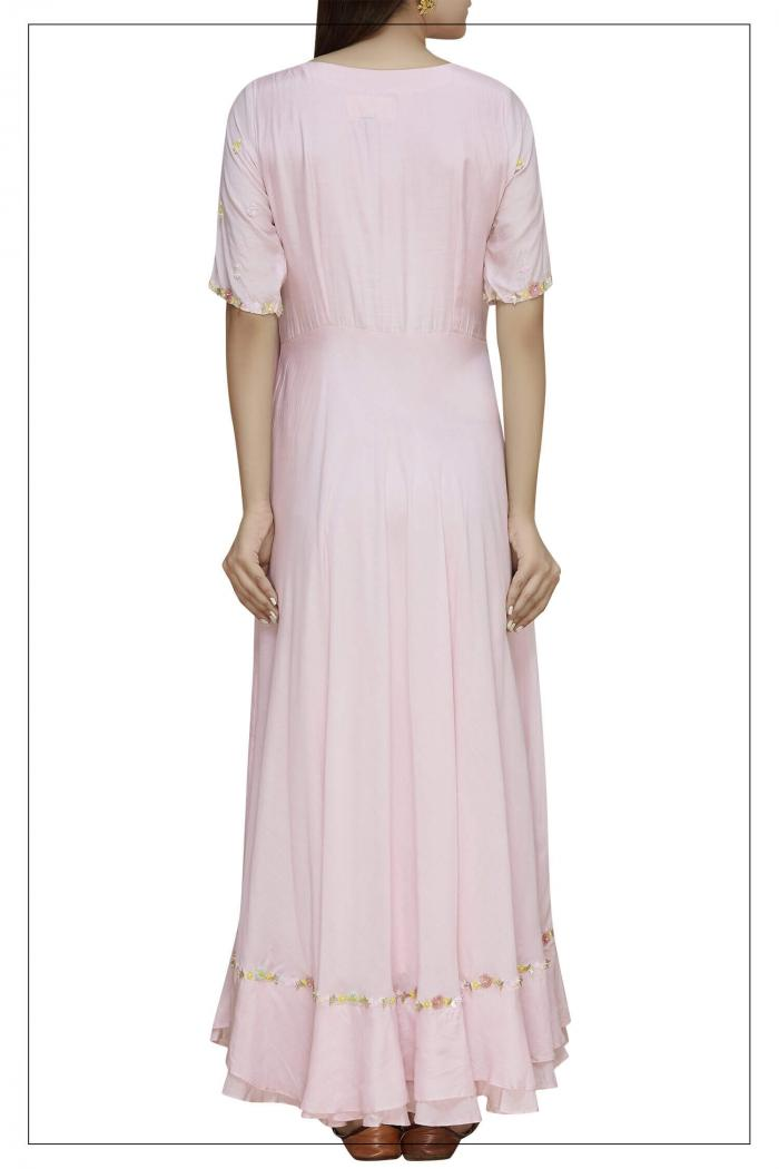 Pink Draped Dress With Embroidery