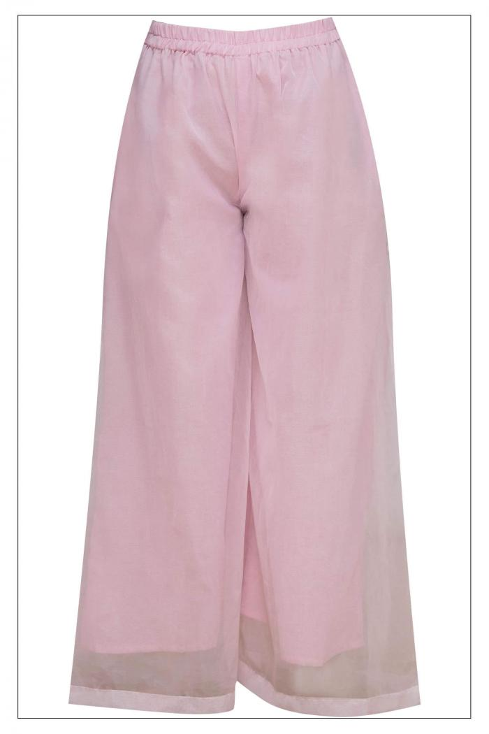 Pink Pleated Tunic With Organza Palazzo