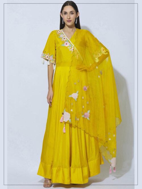 Silk Floral Embroidered Anarkali
