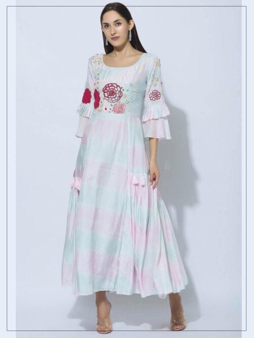 Shibori Embroidered Gown