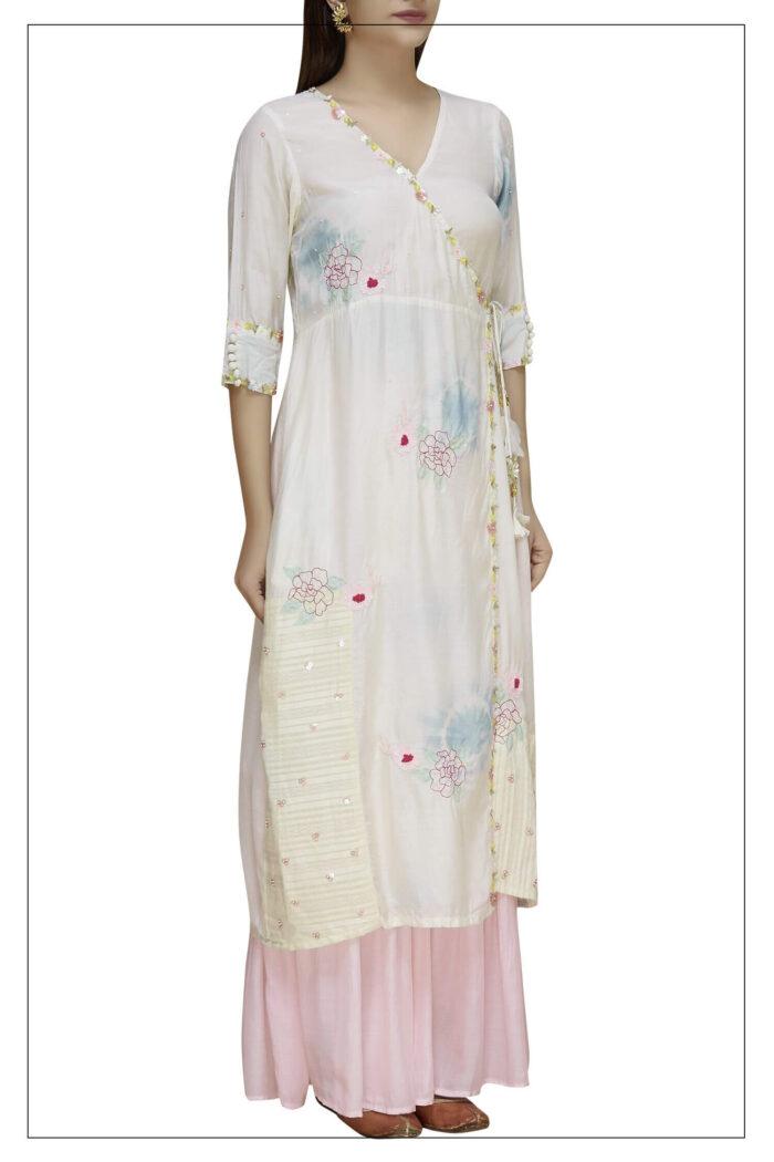 Embroidered Anghrkha Sharara Set