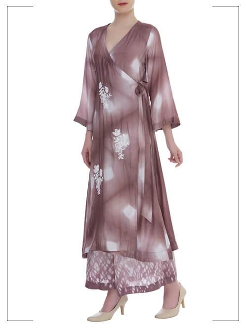 Mauve Wrap Style Embroidered Kurta Set