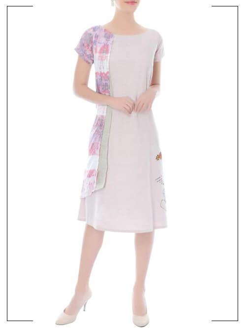 Mauve Embroidered Shift Dress