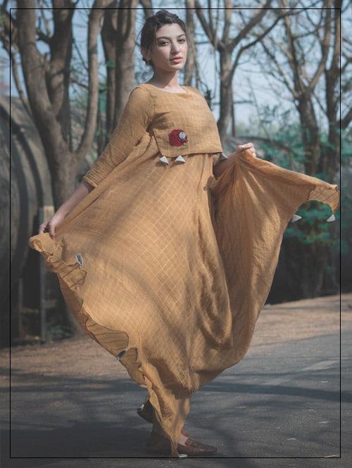 Uneven Length Cotton Gown