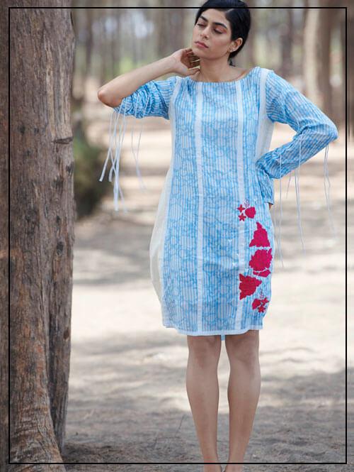 Short Blue Printed Dress