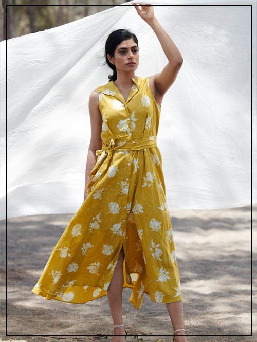 Vintage Yellow Floral Print Dress