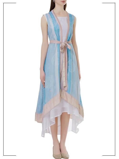Chanderi Dress with jacket