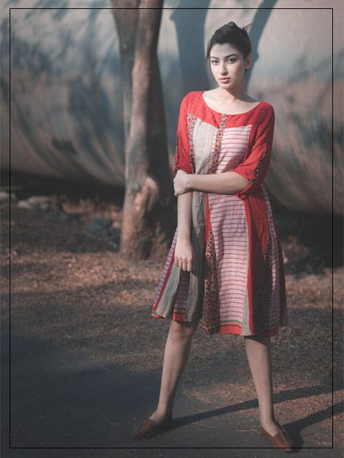 Mix Print Red Dress