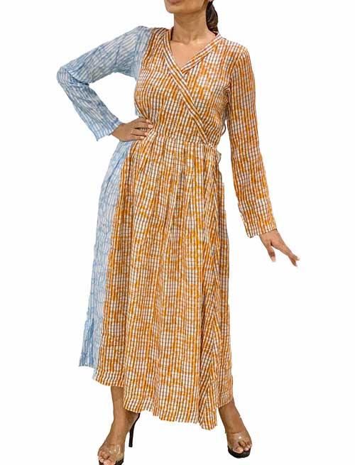 Mix Colour Ankle Length Dress