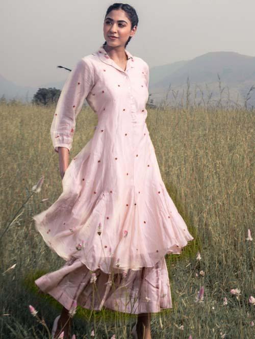 Blush Pink Peterpan Collar Tunic Set