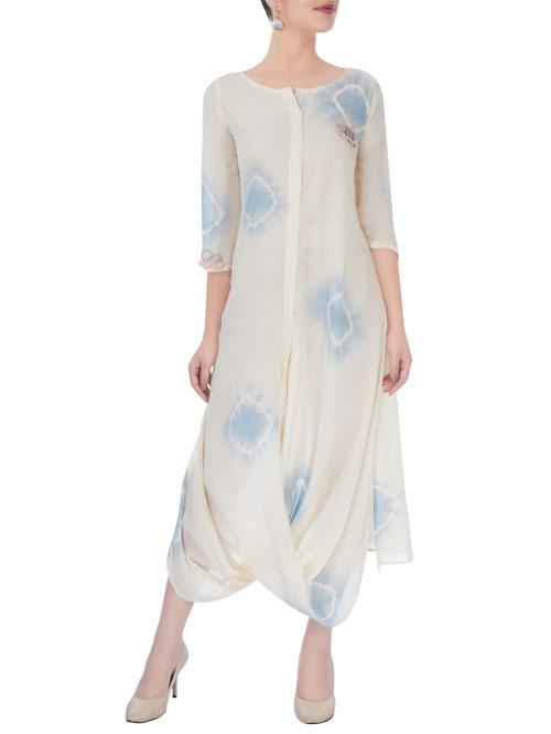 Off-White & Blue Draped Dress