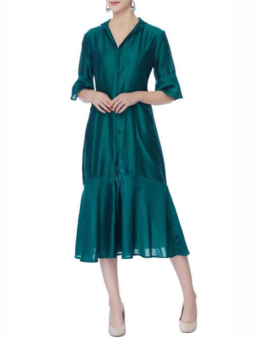Peacock Blue Button Down Dress