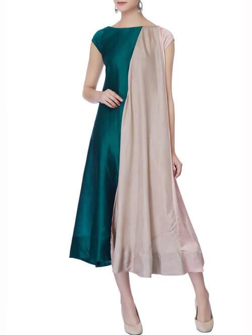 Grey & Peacock Blue Midi Dress