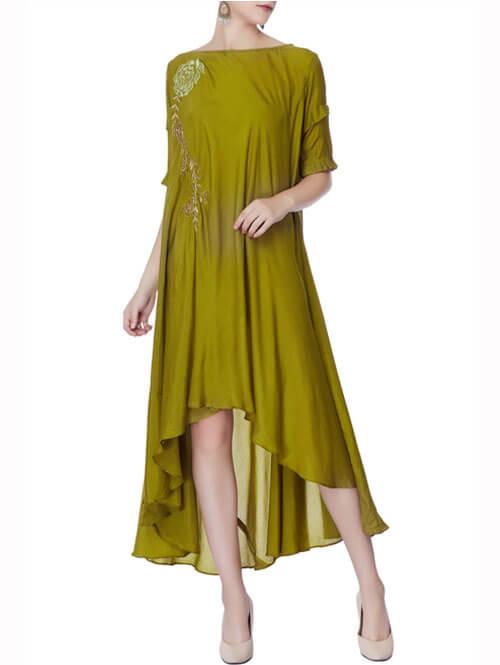 Olive Green Asymmetric Zardozi Dress