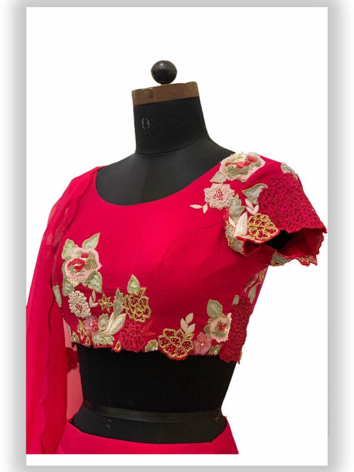 Pink Embroidered Lehenga Set