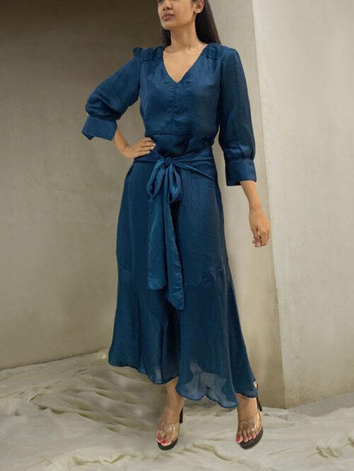 Teal blue vintage dress