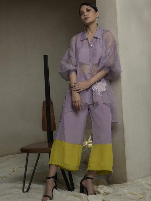 Lilac Sheer top and pant set
