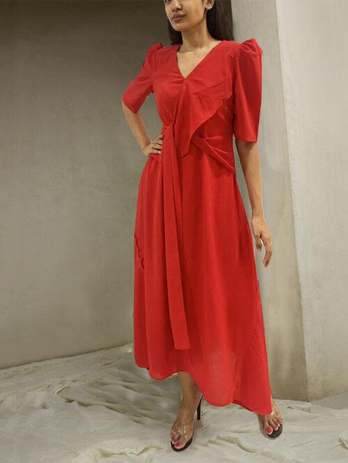 Rose red ankle length dress