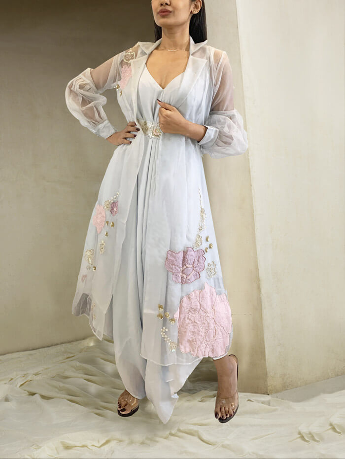 Jumpsuit with organza embroidered jacket and belt