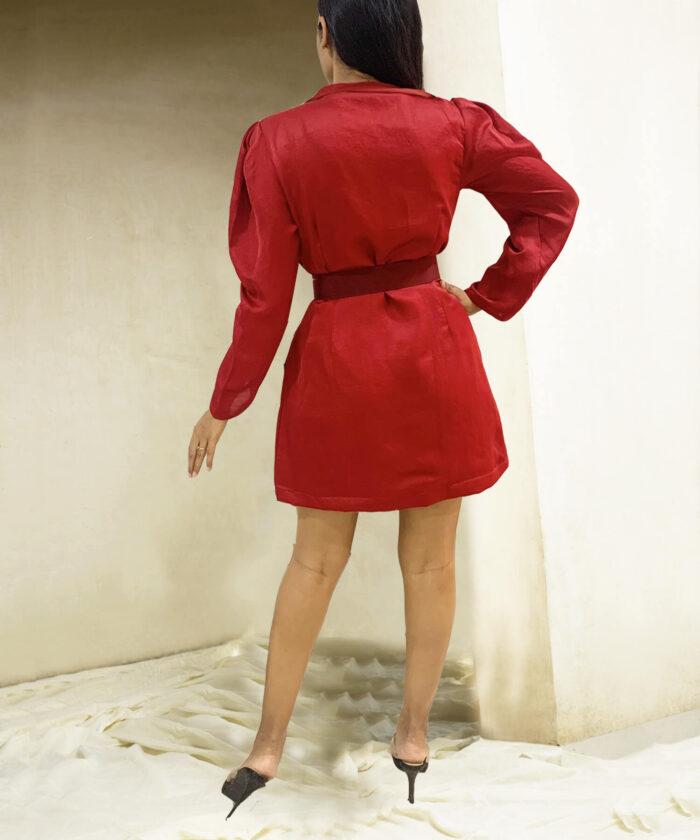 Maroon red Blazer dress