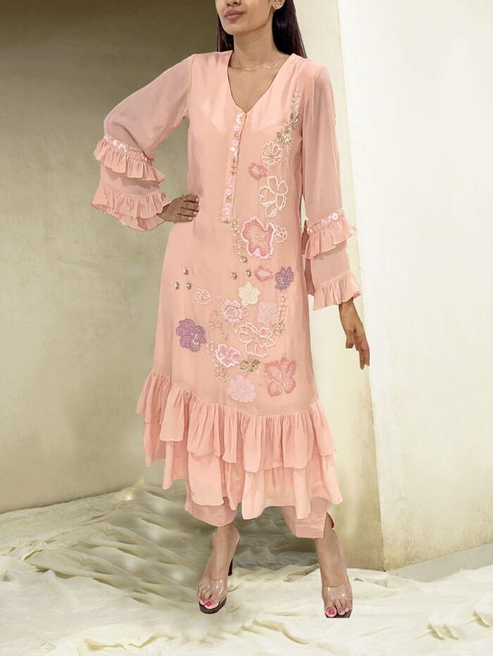 Peachy peach florla tunic set