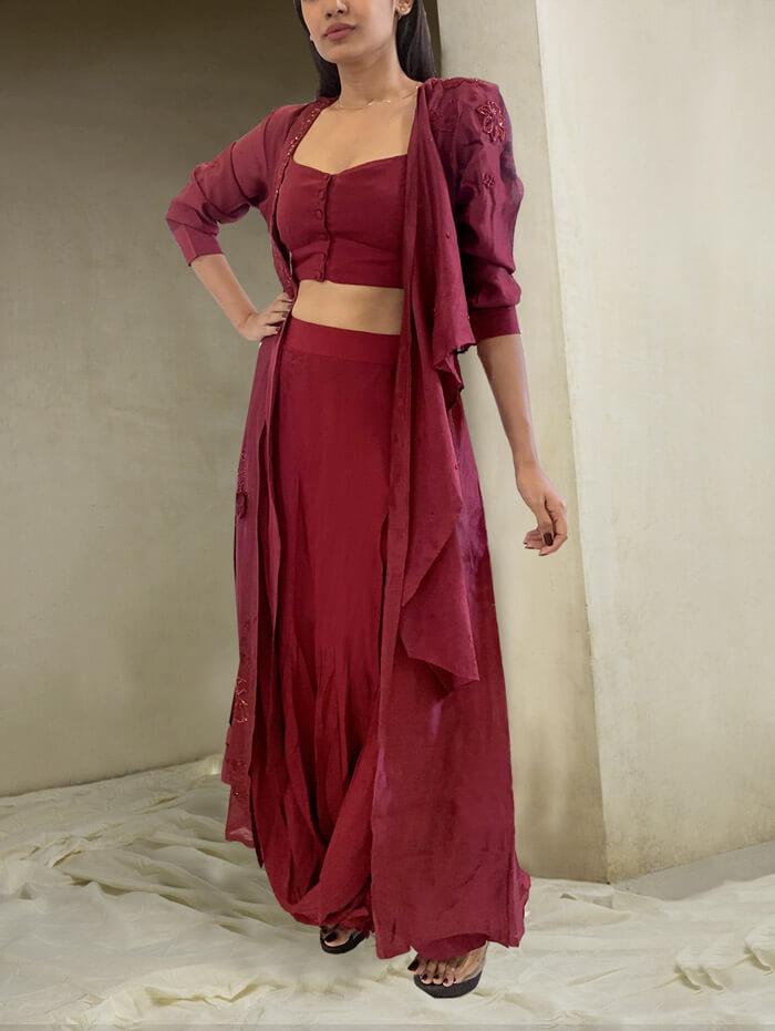 Red wine draped skirt jacket set